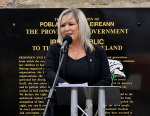 Michelle O'Neill speaking at the funeral of Bobby Storey