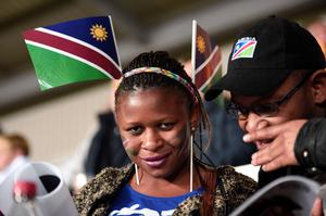 A Namibia supporter looks on   prior to a Pool C match of the 2015 Rugby World Cup between Namibia and Georgia at Sandy Park in Exeter, southwest England, on October 7, 2015. AFP/Getty Images
