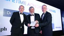 Dr Norman Apsley received the Lifetime Achievement Award from Richard Donnan, Ulster Bank Head of Northern Ireland and Richard McClean, managing director of Independent News and Media. Photo by Kelvin Boyes / Press Eye
