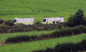 Police at the scene on the Lisleitrim Road in Cullyhanna, South Armagh