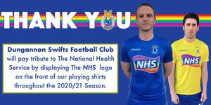 Dungannon Swifts will salute the NHS on their kit next season.