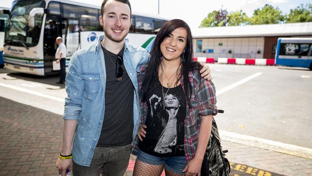McBurney/Rolling Stones - 'STONES - NO FILTER' 2018 tour  Pictured Rolling Stones fans Martin Beeton and Tara Shields as they journey from Belfast to Dublin for the first date of the 'STONES - NO FILTER' 2018 tour at Croke Park.  Date: Thursday 17th May 2018 Location: Europa Bus Station, Belfast Credit: Liam McBurney/RAZORPIX Copyright: Liam McBurney/RAZORPIX  Liam McBurney +44 7837 685767 +44 2890 660676 liammcburney@gmail.com