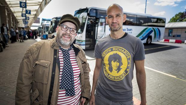 McBurney/Rolling Stones - 'STONES - NO FILTER' 2018 tour  Pictured Rolling Stones fans Ian Davis and Des Husin from Belfast as they journey from Belfast to Dublin for the first date of the 'STONES - NO FILTER' 2018 tour at Croke Park.  Date: Thursday 17th May 2018 Location: Europa Bus Station, Belfast Credit: Liam McBurney/RAZORPIX Copyright: Liam McBurney/RAZORPIX  Liam McBurney +44 7837 685767 +44 2890 660676 liammcburney@gmail.com