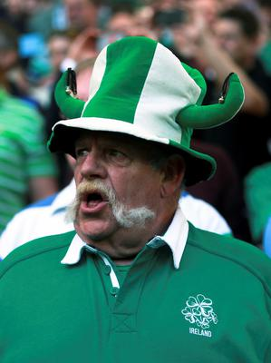 An Ireland fan in the stands shows his support during the Rugby World Cup match at Wembley Stadium, London. David Davies/PA Wire.