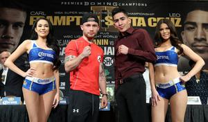 Press Eye - Belfast -  Northern Ireland - 26th January 2017 - Photo by William Cherry  Carl Frampton and Leo Santa Cruz during Thursdays press conference at the MGM Grand Hotel and Casino, Las Vegas. They will mmet in a rematch for the WBA featherweight title at the MGM Garden Arena.  Photo William Cherry/Presseye