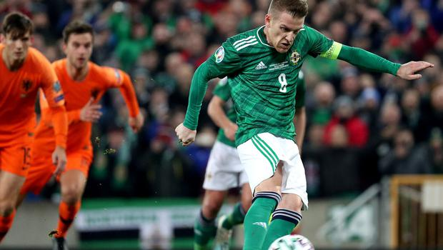 Pacemaker Belfast 16-11-19 Northern Ireland v Netherlands - Euro 2020 Qualifier Northern Ireland's Steven Davis misses a penalty during this evening's game at the National Stadium, Belfast.  Photo by David Maginnis/Pacemaker Press