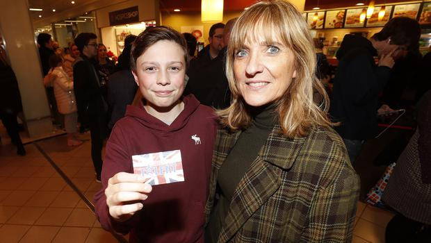 Ethan Davidson 13 with his mum Gillian. Ethan sang 'Talking to the moon' by Bruno Mars at the Britain's Got Talent auditions in Castle Court. Picture Colm O'Reilly Sunday Life.