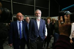 Paul Maskey, left, with Sinn Fein leader Gerry Adams  pictured at the election count at Titanic Exhibition Centre Belfast for Belfast South, Belfast West, Belfast East and Belfast North. Photo by Kelvin Boyes / Press Eye.