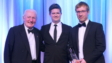 Kris Meeke's brother Barry (right) collects his Special Recognition Award from Philip Houston, Volvo dealer, SMW, Belfast and rally legend Paddy Hopkirk.