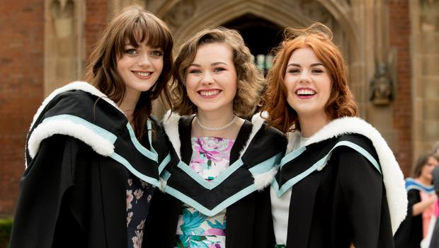 Celebrating graduation success from the School of Arts, English and Languages from Queens University Belfast is Chloe Reeves from Canterbury, Sinead Hallinan from Sligo and Chloe McGreevy from Portaferry.