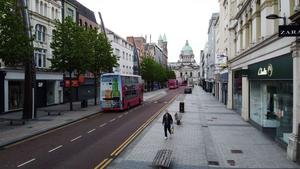 General view of Belfast city centre on Wednesday as many businesses remain closed due to the Coronavirus.  Photo by Kelvin Boyes / Press Eye.