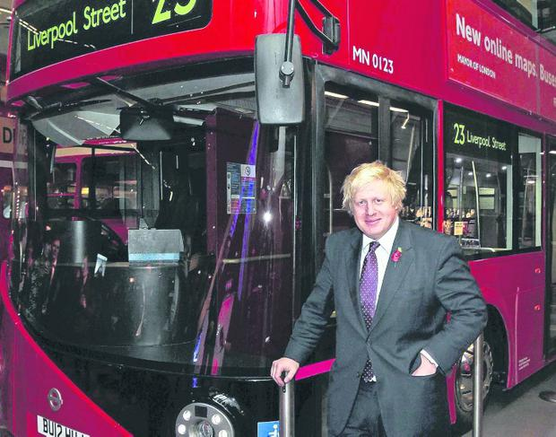 Enthusiasm: London mayor Boris Johnston with a Wright bus in Ballymena