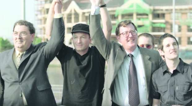 So what happened to the optimism of 1998?: Pictured - John Hume, Bono, David Trimble and Tim Wheeler