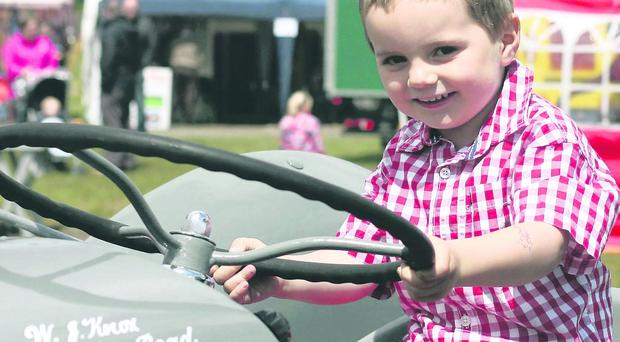 Young Lucas Blair pictured on one of the tractors on display at Ballymoney Show. Pic Matthew Steele/Kevin McAuley Photography Multimedia
