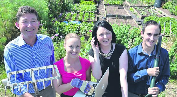 Breaking new ground on the their plot at Vista Allotments are (from left) Peter Morrow, Leighanne Montgomery, Nicola Adamson and Mark Robinson from Morrow Communications.