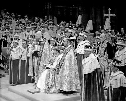 Royal engagement...File photo dated 02/06/53 of Queen Elizabeth II during her coronation in Westminster, London. PRESS ASSOCIATION Photo. Issue date: Thursday November 18, 2010.