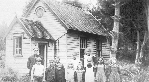 Katikati school house, 1900, with teacher Mr Parker
