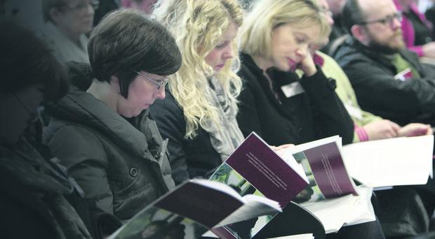 Guests at the launch of a shared education report in Belfast. Photo Paul Faith/PA Wire