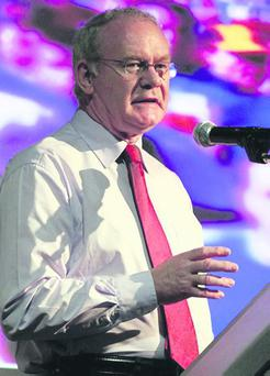 Deputy First Minister, Martin McGuinness speaking at the Sinn Fein Conference 'A City of Equals on an Island of Equals' in the Europa Hotel yesterday