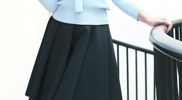 Model, Thalia Heffernan wearing a Pringle of Scotland Archive collection powder blue jumper, 750 euro, JW Anderson skirt, 670 euro, and LK Bennett shoes at the official launch of the exclusive two week capsule knitwear installation entitled 'Princess Grace; More than an image'