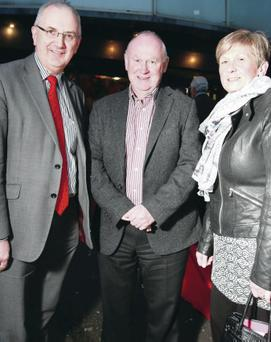 Danny Kennedy MLA with North West 200 clerk of the course Mervyn White and wife Hazel
