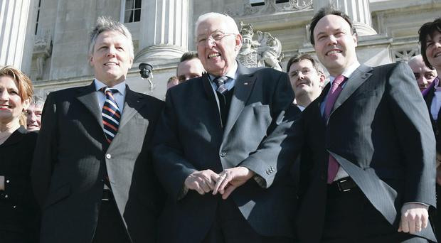 Ian Paisley announcing in 2008 that his replacement as DUP party leader will be Peter Robinson with Nigel Dodds being his deputy. Pic Colm Lenaghan / Pacemaker