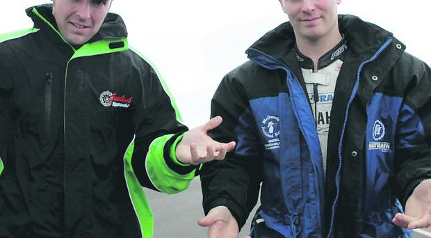 Alastair Seeley and Stuart Easton pictured after Saturdays racing was called off.