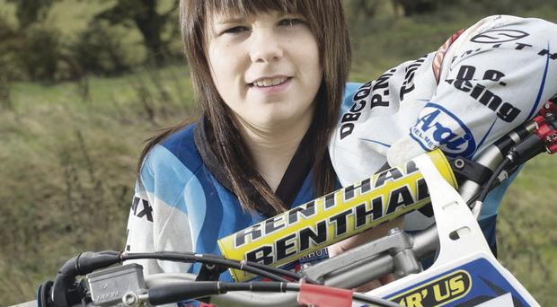 Fifteen year old Motocross rider Natalie Kane from Loughbrickland. Natalie scored a 2nd place in the Women's World Cup in Holland in September of this year.