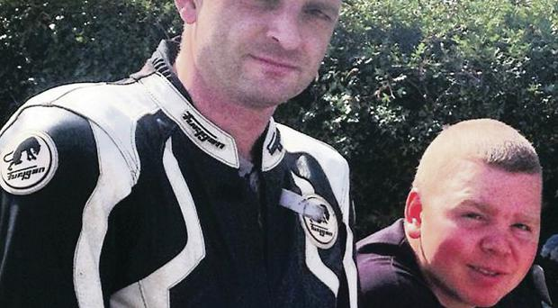 Noel Murphy (left), from Lusk in County Dublin, died on the Cooley Hill Road at the Tandragee 100 on Saturday