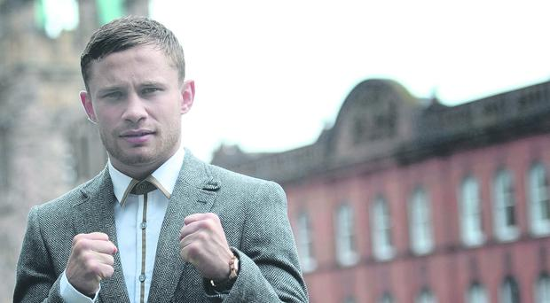 Bruce Willis managed to out maneuver Belfast's Carl Frampton as the boxer attempted a chat.