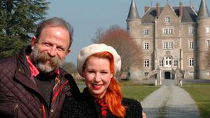 Dick and Angel outside their chateau