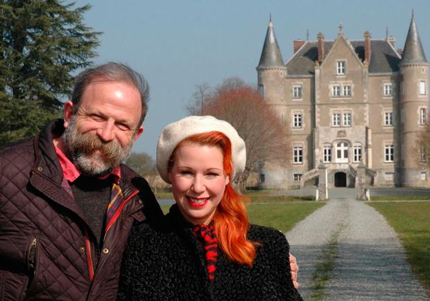 French fancy: Dick and Angel outside their chateau