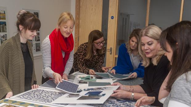 Top team: working in the Bedeck design archive, (from left) Amy Connon, Susie McMahon, Emma Murray, Christine Bell, Julie Hall and Helen Murray