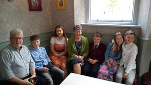 Happy family: Paul Keenan and wife May with their grandchildren before lockdown
