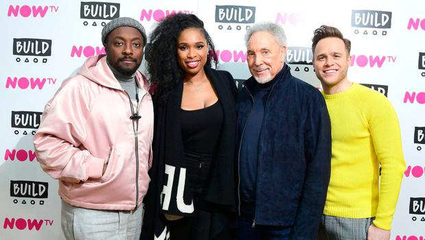 On song: will.i.am with fellow The Voice coaches Jennifer Hudson, Sir Tom Jones and Olly Murs