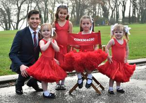 Little stars: Rob with some of the young girls taking part in the film