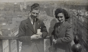 High life: Robert and Betty get a bird's eye view of London from the top of Nelson's Column