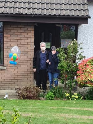 Paul Keenan arrives home from hospital with wife May