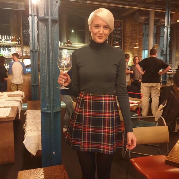 Good cheer: Katie Wright has her last drink before a month's sobriety