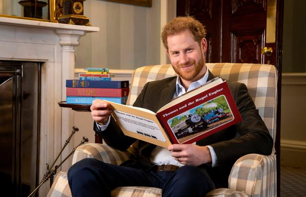 Harry reads his introduction to Thomas & Friends: The Royal Engine earlier this week