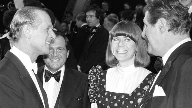 Famous circles: Pam Ayers and comedian Tommy Cooper chat to the Duke of Edinburgh at the Royal Variety Gala in 1977