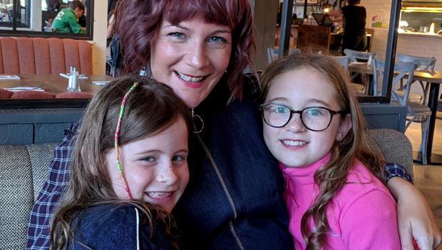 Having fun: Claire Spreadbury with her daughters Rosie and Poppy