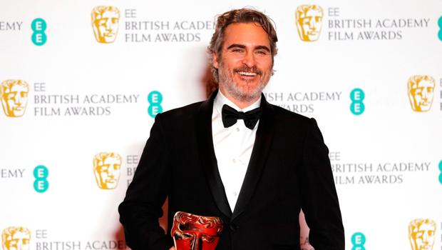 Mixed reception: Joaquin Phoenix after his speech at the Baftas