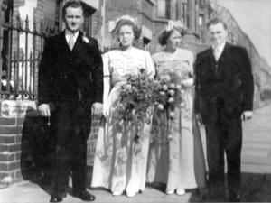 Susan Neilly (second from left) on her wedding day, March 22, 1952, brother-in-law Hugh Neilly, her sister Tillie Irvine and Bertie (right)