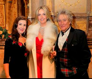 Star attraction: Margaret Keys with Penny Lancaster and Rod Stewart