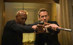 Double acts: Samuel L Jackson (left), and Ryan Reynolds in The Hitman's Bodyguard