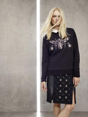 Sweater, £45, shirt, £69, leather skirt, £189, House of Fraser