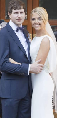 Happy couple: Rachel and Harry on their wedding day