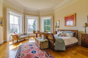 Period detail: The massive master bedroom suite with bay windows