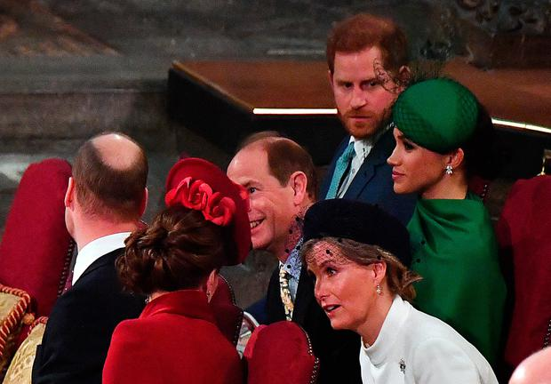 Harry and Meghan attend the Commonwealth Day Service with the Duke and Duchess of Cambridge and the Earl and Countess of Wessex on March 9